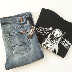 HTF: 7FAM® x GCW ☻︎ Leather Patch Standard Jean ☻︎